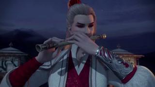 侯卿练习吹笛子