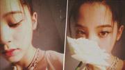欧阳娜娜变身花仙子 白玫瑰遮嘴露半脸演绎朦胧美