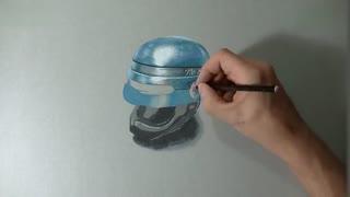 牛人手绘:体画家手绘《机械战警》头盔3D画