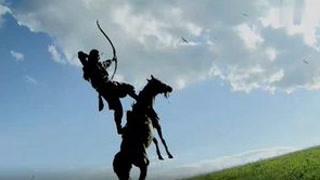 射雕名场面,郭靖一箭双雕征服成吉思汗! #射雕英雄传  #胡歌