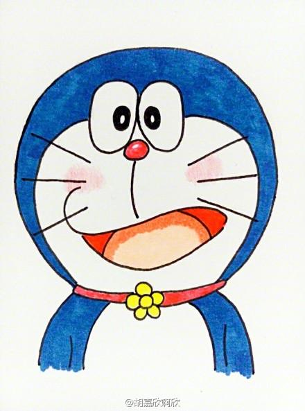 六只不同表情的蓝胖子简笔画图片机器猫简笔画图片素材 优艺星 表情