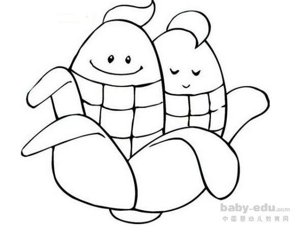 表情 玉米简笔画图片大全 可爱双胞胎玉米 蔬菜简笔画 中国婴幼儿教育