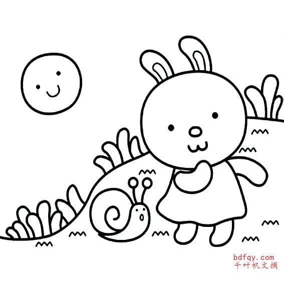表情 小兔子简笔画涂色 ,一笔画作品 千叶帆文摘 表情