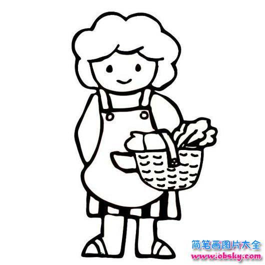 表情 我的妈妈简笔画图片 上街买菜的妈妈 妈妈 儿童简笔画图片大全