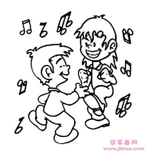 表情 六一儿童节简笔画图片 跳舞的小朋友 简笔画网 表情