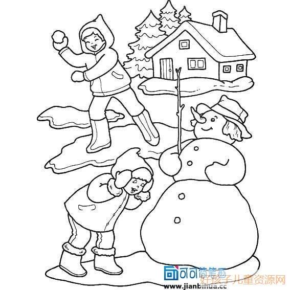 堆雪人打雪仗简笔画,儿童堆雪人打雪仗的简笔画画法 人物简笔画