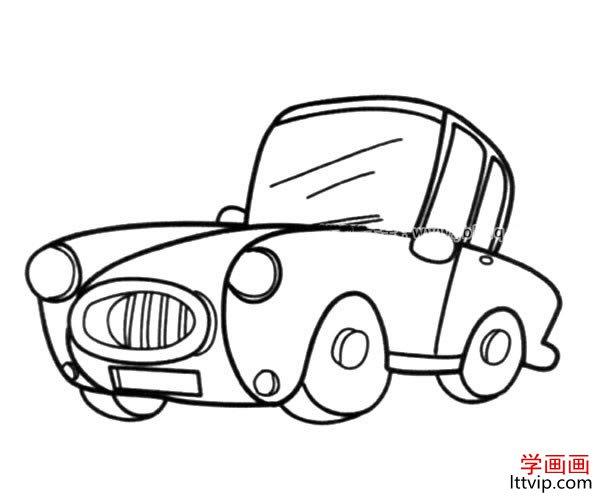 表情 复古小汽车简笔画图片 学画画 表情