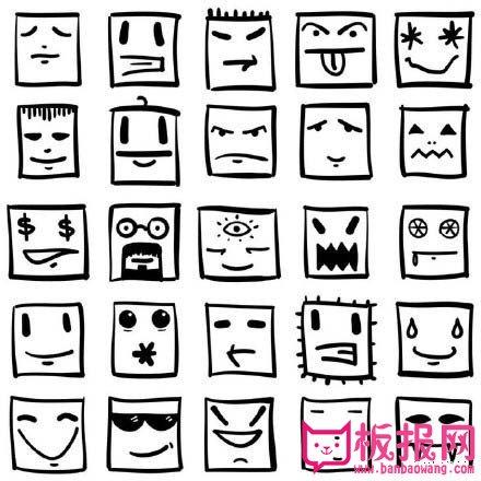 表情 手账素材简笔画,手账人物简笔画 板报网 表情