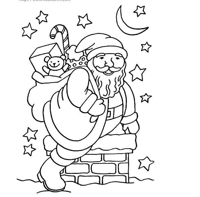 给老人送礼物简笔画-表情 圣诞老人爬烟囱送礼物,绘画图片,儿童文