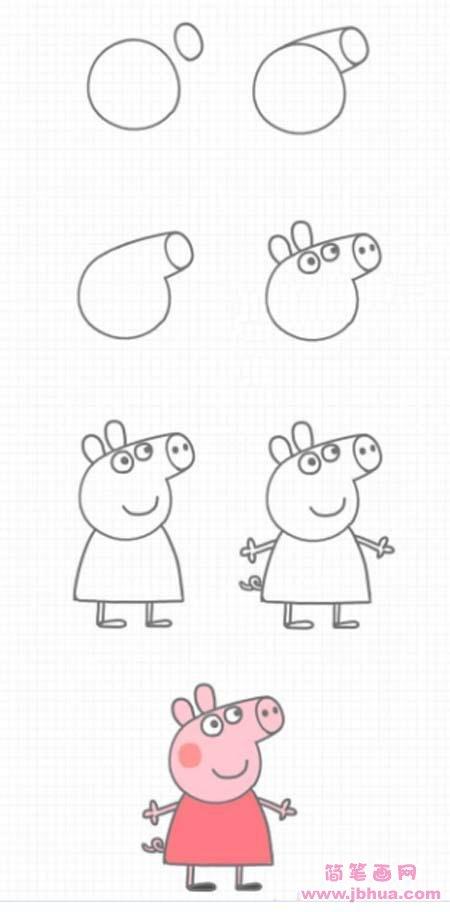 表情 小猪佩奇简笔画教程步骤图解大全 怎么画小猪佩奇 简笔画网 表情