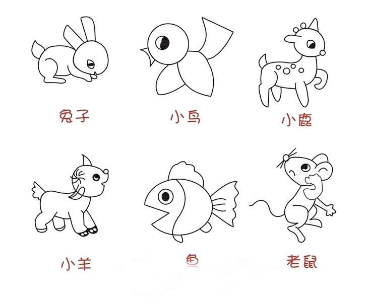 表情 小动物简笔画 小动物图片欣赏 小动物儿童画画作品 有伴网 表情
