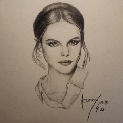 表情 随手美拍 画画 铅笔画 人物素描 欧美女神 抹茶曲奇karen的美拍 表情