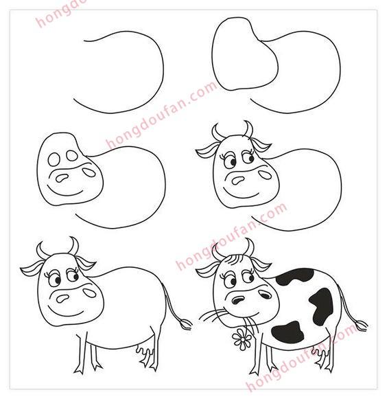 表情 可爱的小花奶牛怎么画 奶牛简笔画大全 红豆饭小学生简笔画大全 表情