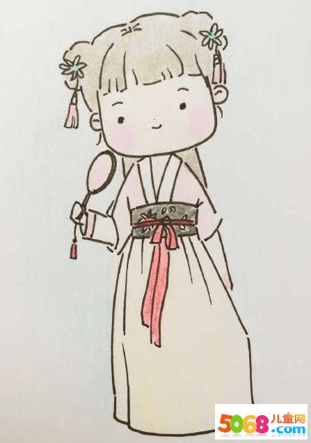表情 Q版汉服小姑娘简笔画图片 Q版汉服小姑娘儿童绘画图集 表情