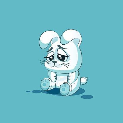 兔子字符画-号字符卡通白色小兔子伤心和失望的贴纸premium clipart  表情