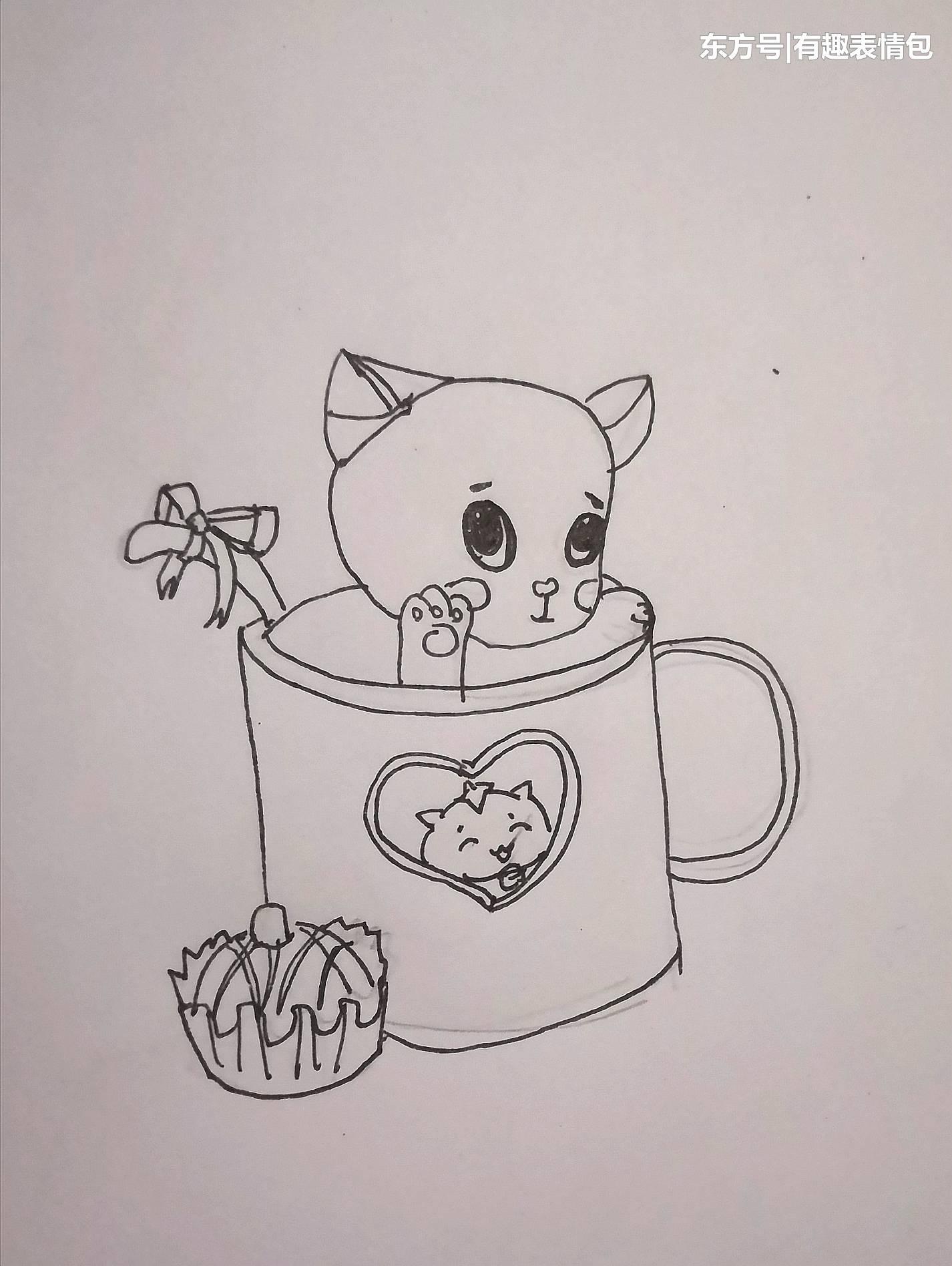 表情 手绘黑白素描可爱萌萌哒的杯中猫,可爱又萌有学问的猫 时讯网 表情