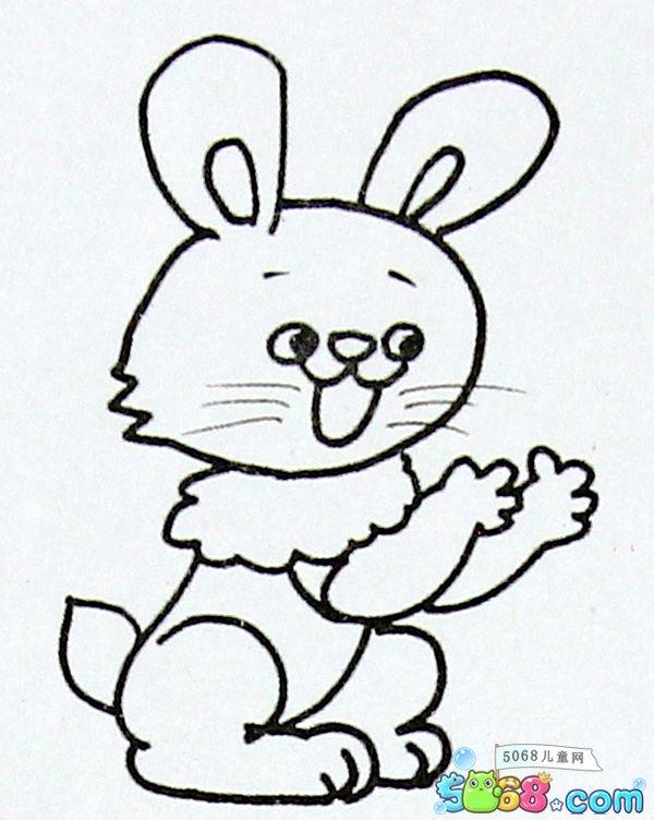 表情 戴围脖的小兔子简笔画图片 乖孩子网儿童第一门户 表情