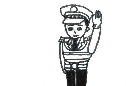 表情 警察简笔画图片大全 敬礼的警察叔叔 10 5068儿童网 表情