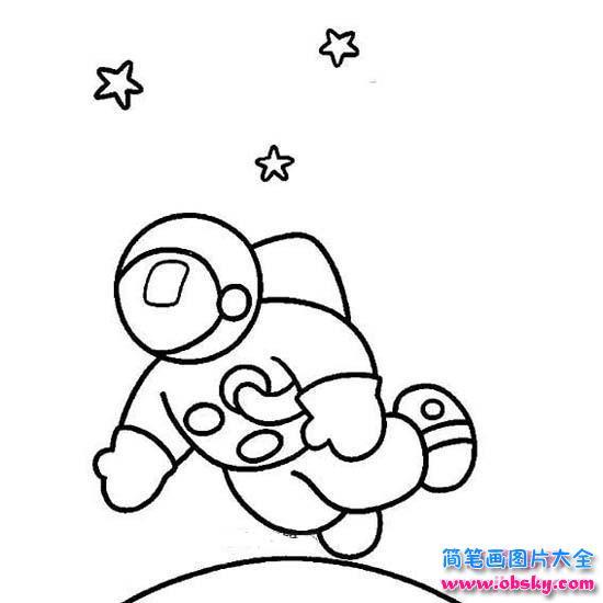 表情 少儿关于宇航员在太空中场景简笔画图片 宇航员 儿童简笔画图片大全 表情