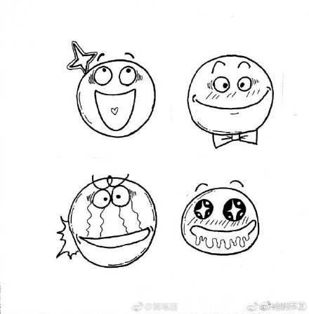 表情 纹身潮时尚 简笔画手绘小表情,简单易学呢cr 铃铛子520 微  表情