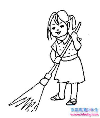 情 怎么画五一劳动节人物 扫地的女孩简笔画的教程 五一劳动节简笔