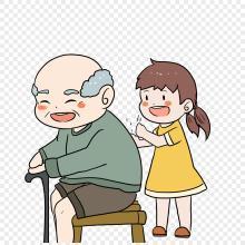 奶奶捶背 我给爷爷捶背简笔画  表情