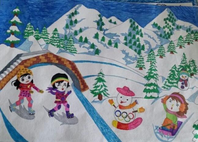 2022年北京冬奥会,助力张家口冬季奥林匹克运动会儿童画 格格 表情