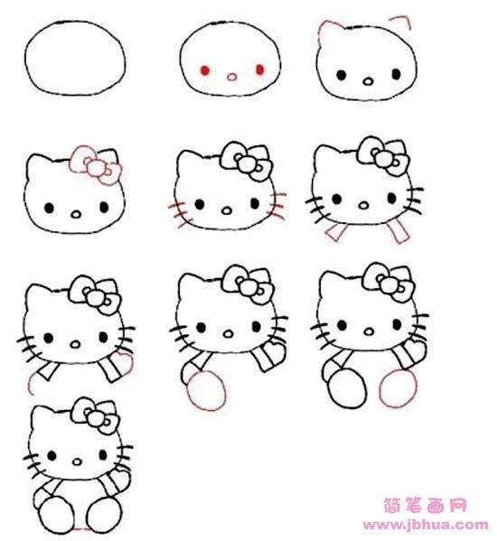 表情 hello kitty简笔画画法步骤 怎么画kitty猫 简笔画网 表情