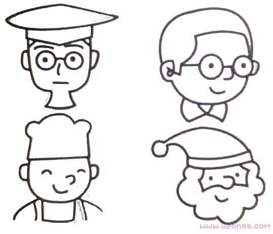 表情 戴眼镜小男孩简笔画表情卡通图片 铅笔素描 巧巧简笔画 表情