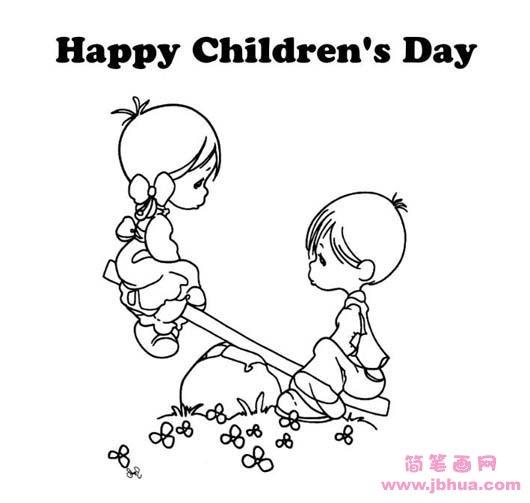 Happy Childrens Day 简笔画网 www.jbhua.com-表情 小朋友六一儿童