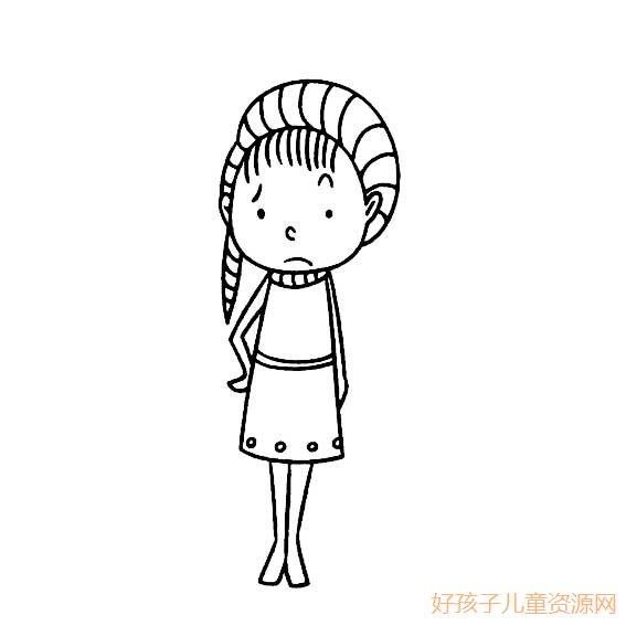 小女孩伤心的简笔画,小女孩伤心的的简笔画画法 人物简笔画