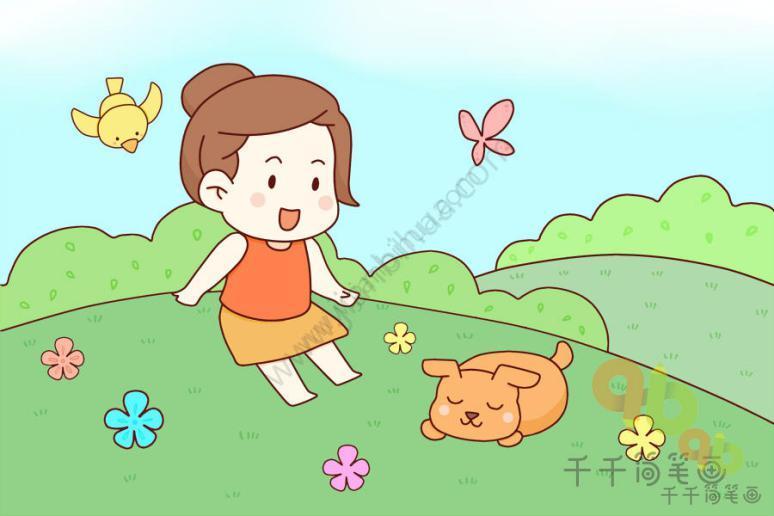 表情 春游主题简笔画小朋友手拉手一起去踏春吧 主题简笔画 千千简笔画 表情图片