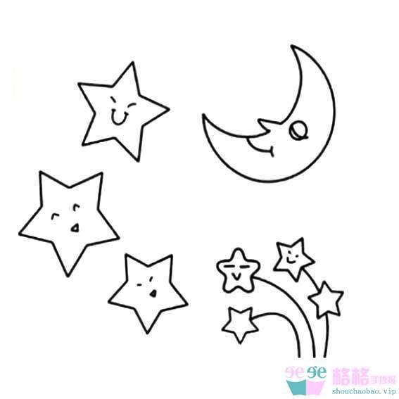 表情 夜空中小星星简笔画画法 2 格格 表情