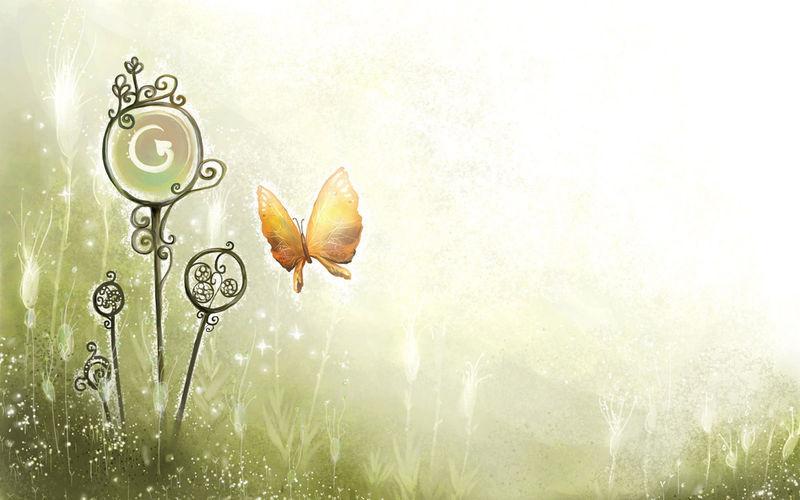 表情 艺术手绘风格蝴蝶背景ppt背景图片 无水印 神马软件站 表情