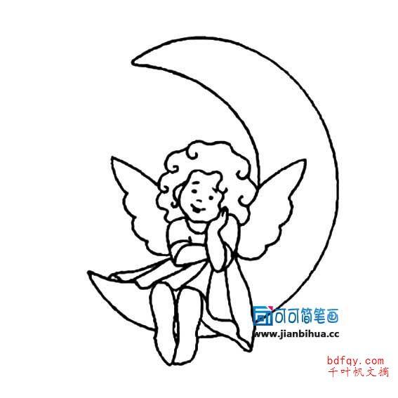 表情 坐在月亮上的小天使简笔画 小天使的简笔画 表情