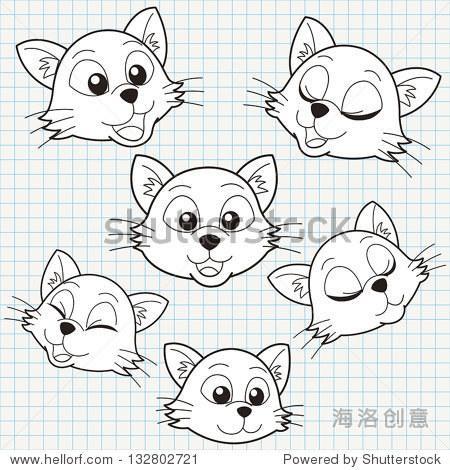 表情 最新猫脸手绘小表情 黑色人脸猫耳朵表情 表情图片