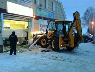 悍匪午夜开挖掘机偷走商店ATM机