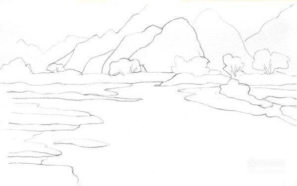 水粉风景画绘画步骤图文教程:雪山蓝天和湖水,这些经验不可多得