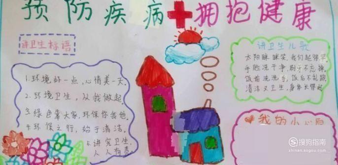 题目写上防治疾病,拥抱健康,画上美丽的小房子,写一下在冠状病毒爆发