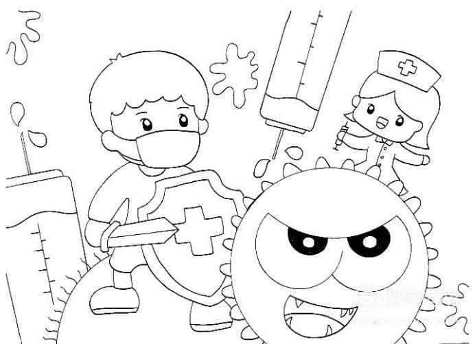 继续在男孩的两侧画上巨大的针筒,在病毒的右上方画上一位护士,整个图片