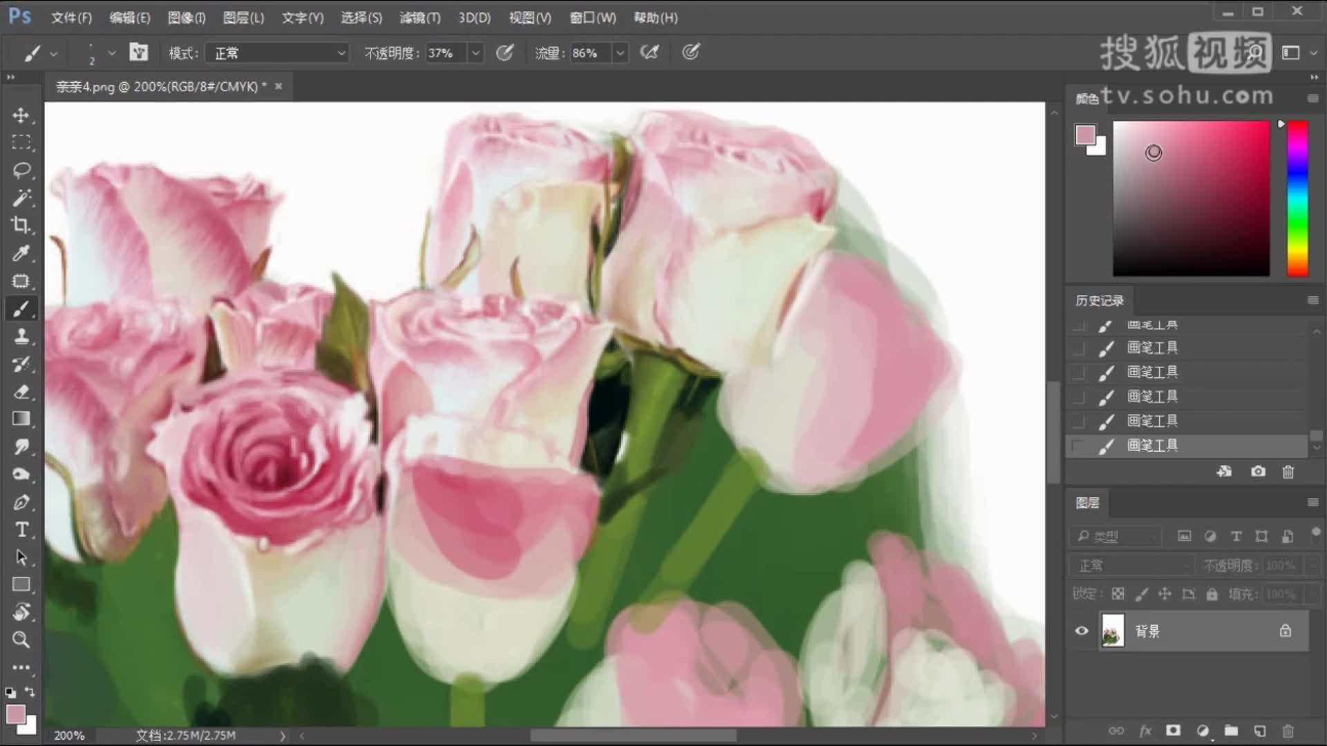 画师画了一束逼真的玫瑰花,溜的飞起!