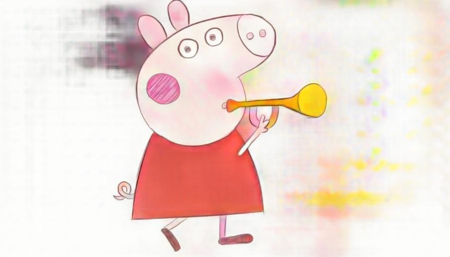 吹喇叭儿童亲子简笔画-粉红猪小妹peppapig 小猪佩奇 中文英文合编