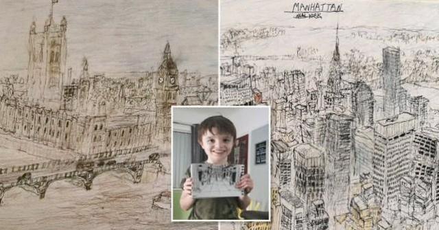英國5歲自閉男童,還原城市建築風景毫無偏差,很快就要賣畫作瞭