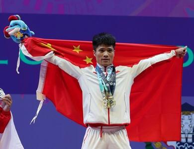 举重世锦赛61公斤级李发彬夺冠