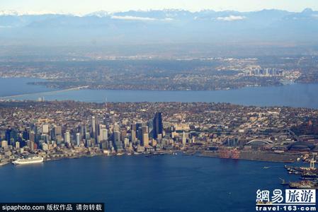 上帝视角欣赏西雅图的城市风光