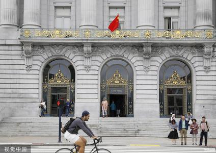 旧金山举行升五星红旗仪式 庆祝国庆70周年