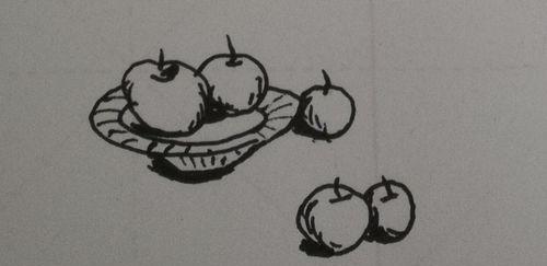 水果、盘子的组合简笔