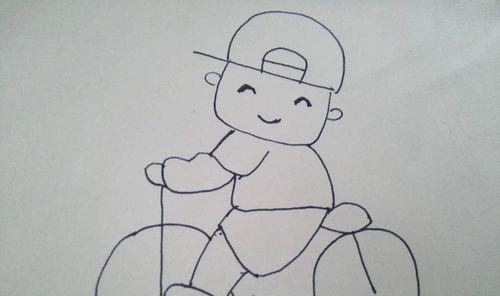 简笔画之骑着自行车的