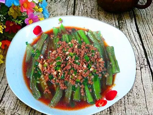 丝瓜的美味做法,牛肉蒜末蒸丝瓜 值得收藏