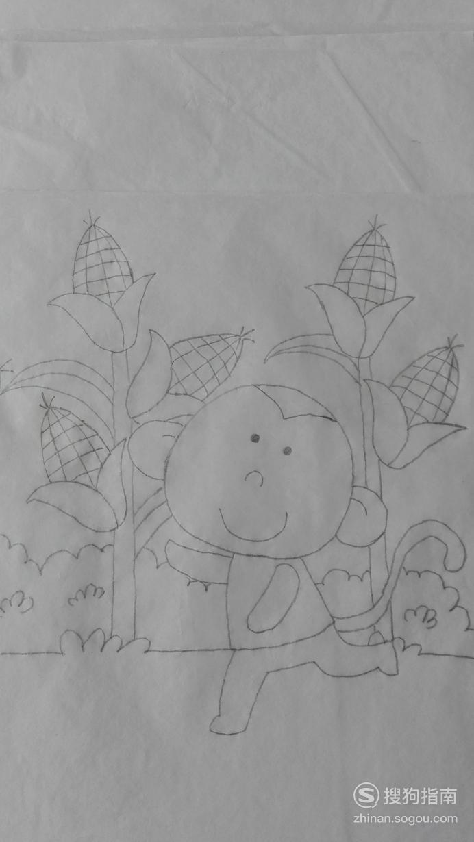 如何画猴子摘玉米的简笔画,详细始末